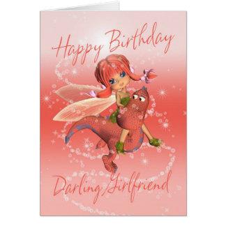 Girlfriend Cute Birthday card, pink dragon with fa Greeting Card