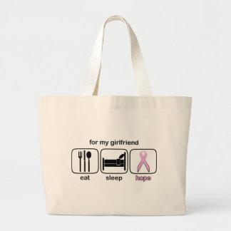 Girlfriend Eat Sleep Hope - Breast Cancer Canvas Bags