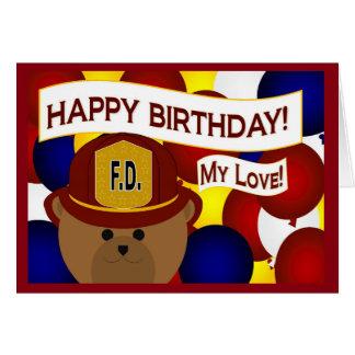 Girlfriend - Happy Birthday Firefighter Hero! Card