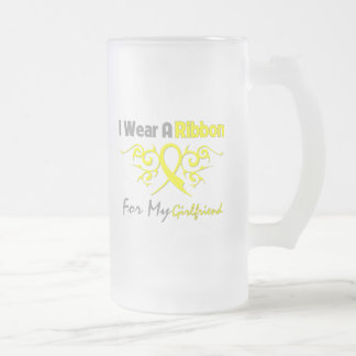 Girlfriend - I Wear A Yellow Ribbon Military Suppo Frosted Glass Beer Mug