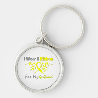 Girlfriend - I Wear A Yellow Ribbon Military Suppo Silver-Colored Round Keychain