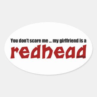 Girlfriend is Redhead Oval Sticker