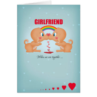 Girlfriend Lesbian Valentine's Day Kissing Dogs An Greeting Cards