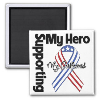 Girlfriend - Military Supporting My Hero 2 Inch Square Magnet