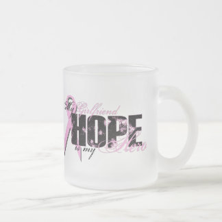 Girlfriend My Hero - Breast Cancer Hope 10 Oz Frosted Glass Coffee Mug