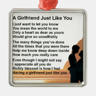 Girlfriend poem - Silhouette Lovers Design Metal Ornament