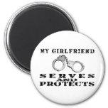 Girlfriend Serves Protects - Hat Fridge Magnet