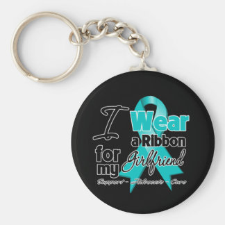 Girlfriend - Teal Awareness Ribbon Key Chains