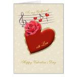 Girlfriend Valentine card - Music, Heart and Rose