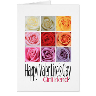 Girlfriend Valentine's Gay, Rainbow Roses Card