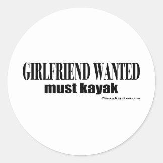 girlfriend wanted round stickers