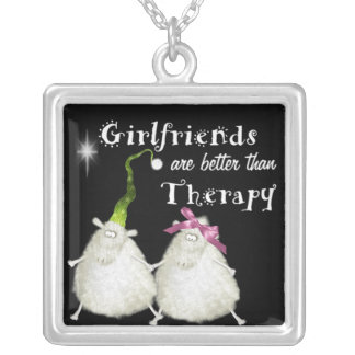 girlfriends are better than therapy sheep square pendant necklace
