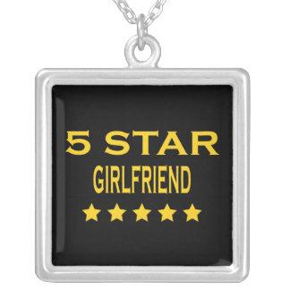 Girlfriends Birthdays Valentines 5 Star Girlfriend Square Pendant Necklace