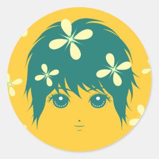 girlhood(green) classic round sticker