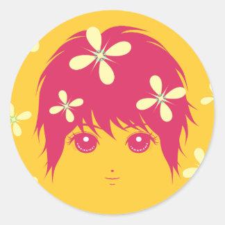 girlhood(pink) classic round sticker