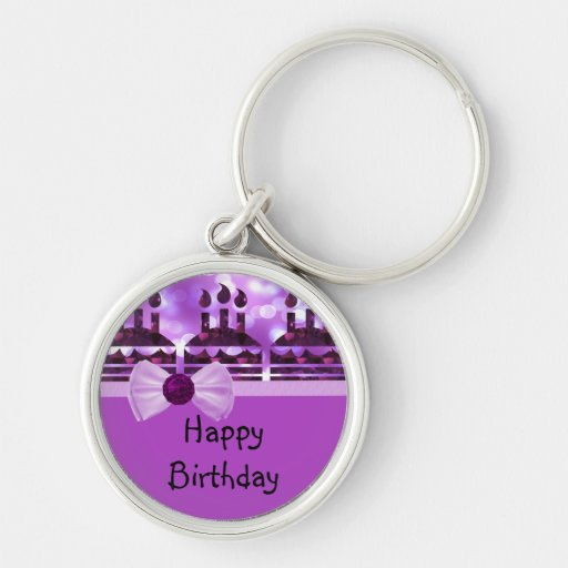 Girlie Bokeh Birthday Cake Gemstone Keychains