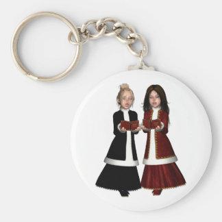 Girlie Carol Singers Basic Round Button Keychain