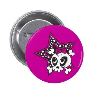 Girlie Emo Skull Pinback Button