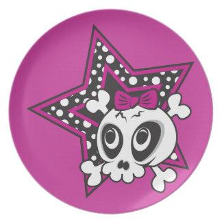 Girlie Emo Skull Melamine Plate