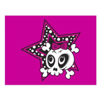 Girlie Emo Skull Post Cards