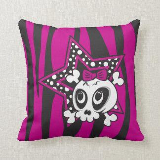Girlie Emo Skull Throw Pillow