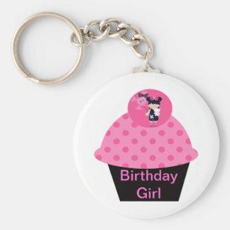 Girlie Goth Cupcake Birthday Girl Basic Round Button Keychain