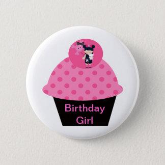 Girlie Goth Cupcake Birthday Girl Pinback Button