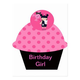 Girlie Goth Cupcake Birthday Girl Postcard