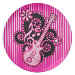 Girlie Guitar Party Plates