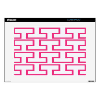 "Girlie Hot Pink and White Bricks 15"" Laptop Decal"