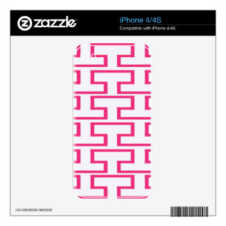 Girlie Hot Pink and White Bricks iPhone 4S Skin