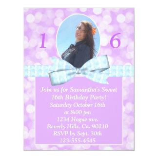 Girlie Lavender Bokeh Lights Sweet 16 Add Photo Card
