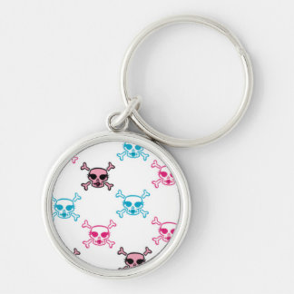 Girlie Pink and Blue Skull and Bones Design Silver-Colored Round Keychain