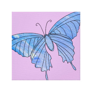 Girlie Pink Blue Painted Artsy Butterfly Art 4 Canvas Print