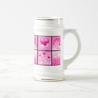 Girlie Pink Hearts Of Love Beer Stein