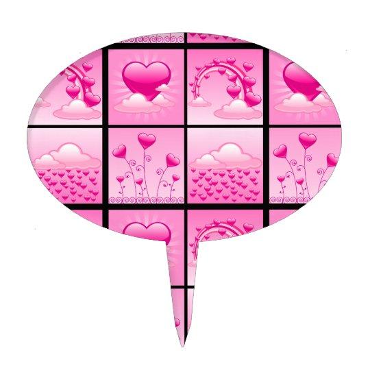 Girlie Pink Hearts Of Love Cake Topper