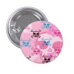 Girlie Pink Skull Design Pinback Button