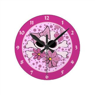 Girlie Punk Skull Round Wall Clock