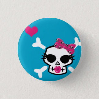 Girlie Punk Skull on Blue Pinback Button