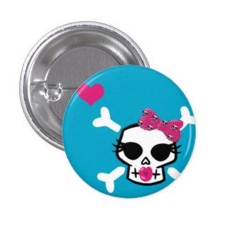 Girlie Punk Skull on Blue Pinback Button