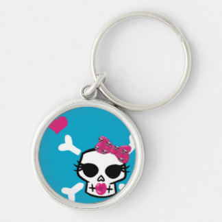 Girlie Punk Skull on Blue Silver-Colored Round Keychain