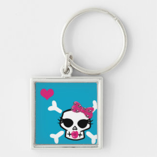Girlie Punk Skull on Blue Silver-Colored Square Keychain