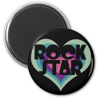 Girlie Rock Star Heart 2 Inch Round Magnet