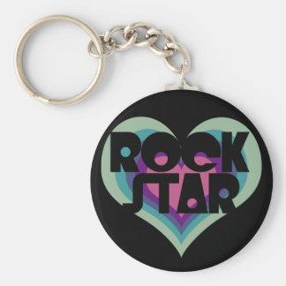 Girlie Rock Star Heart Basic Round Button Keychain