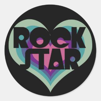 Girlie Rock Star Heart Classic Round Sticker