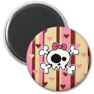 girlie skull 2 inch round magnet