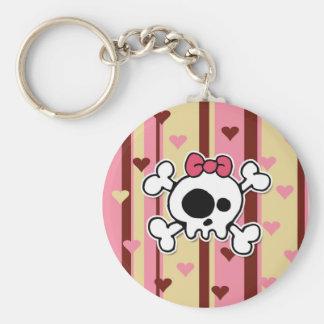 girlie skull basic round button keychain