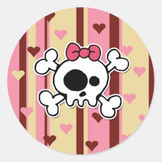 girlie skull classic round sticker