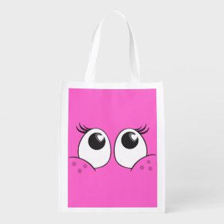 Girlie Smiling Eyes Reusable Grocery Bag