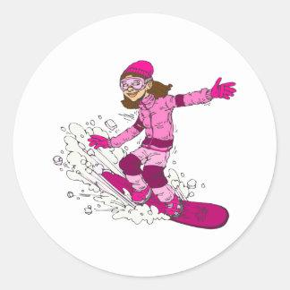 Girlie Snowboarder Round Sticker